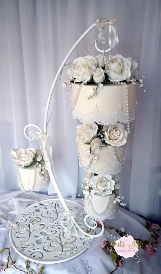 Wedding cake hanging from chandelier ideas about chandelier cake on best chandelier cake ideas on mozeypictures Image collections