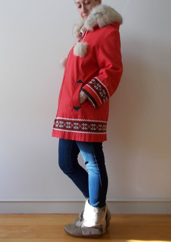 vintage Eskimo parka red and cream wool jacket  by clotheswhorse