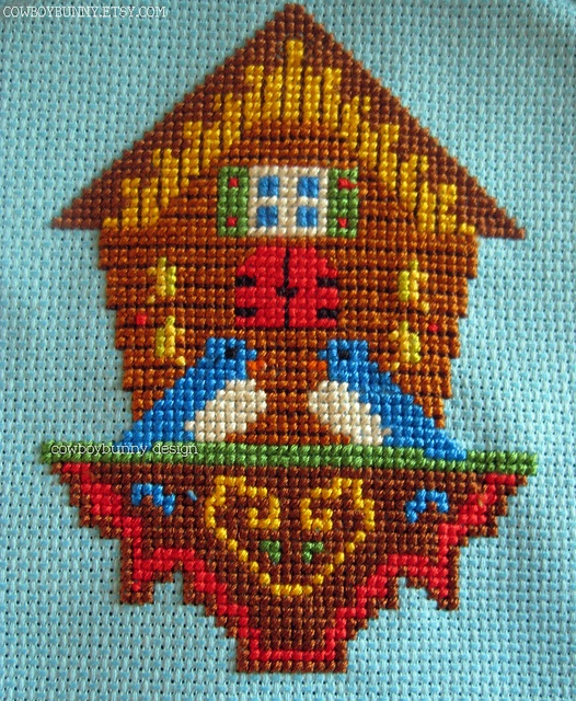Cross Stitch Birdhouse for Two