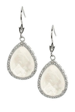 Pear Mother of Pearl Double & Pave CZ Earrings