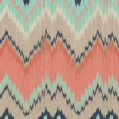 I NEED THIS SCARF!   Coral, Aqua and Navy Ikat Chevron fabric by sparrowsong on Spoonflower - custom fabric