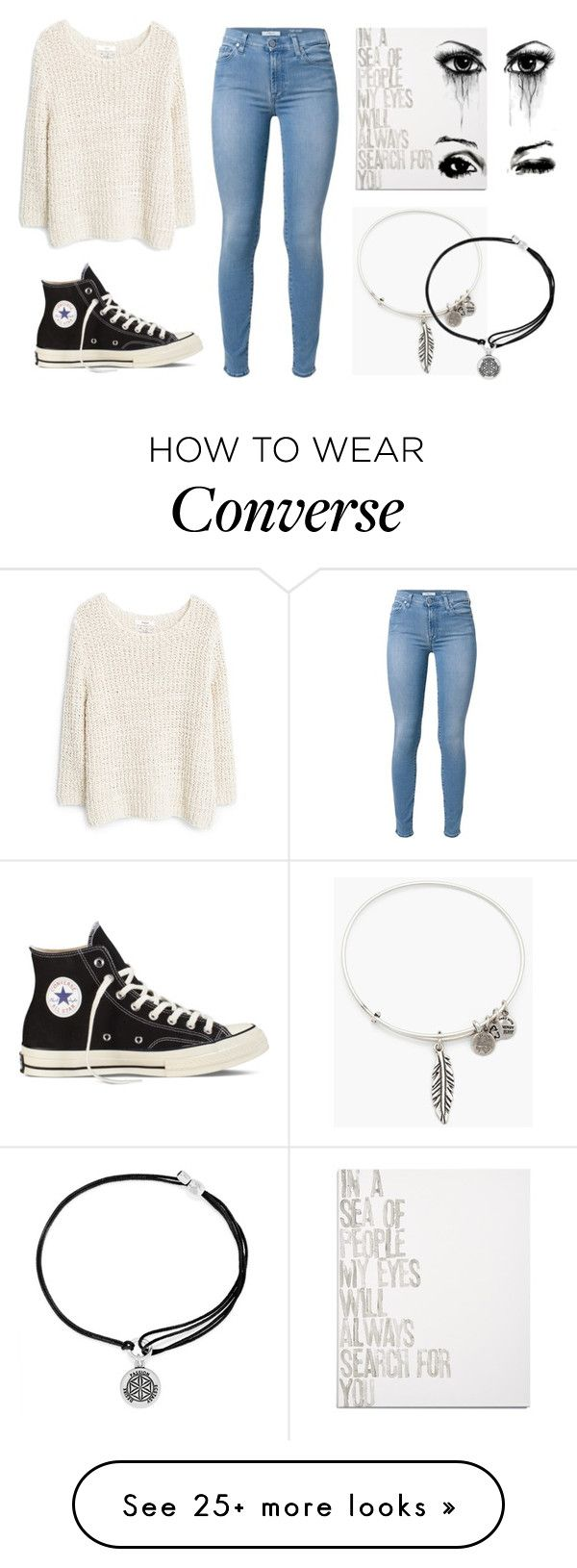 """""""seaching 4 u...❤︎"""" by caterina-b on Polyvore featuring MANGO, Converse, 7 For All Mankind, Alex and Ani and Canton Box Co."""