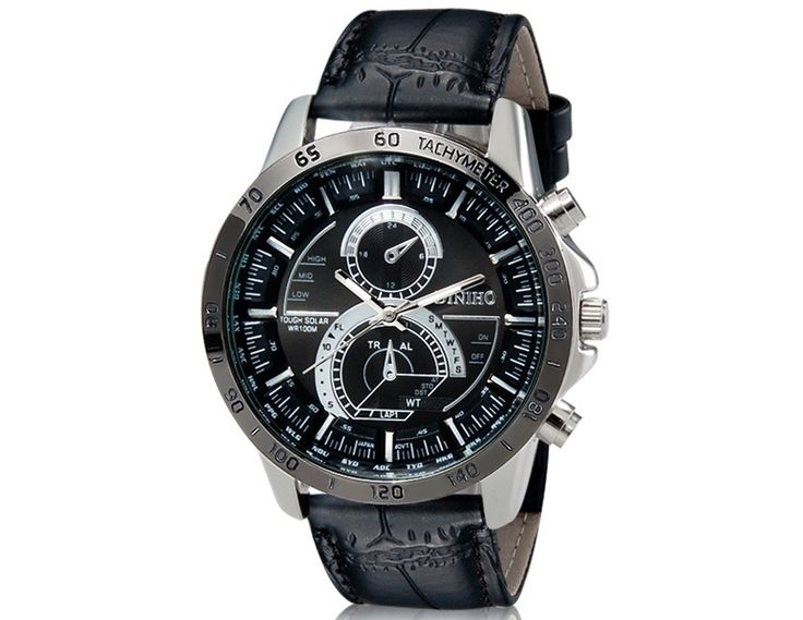 Stylish Round Black Dial Analog Watch with Faux Leather Strap Wrist Watch Designed for Men