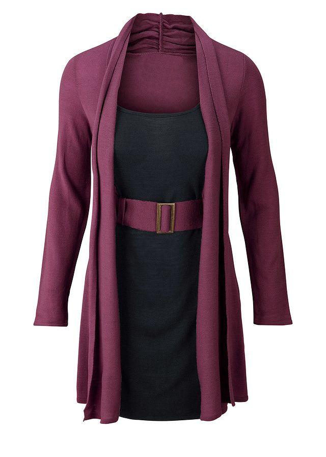 Elegantné, štýlové pletené šaty s opaskom, v dvojvrstvovom vzhľade, dĺžka vo veľ. 40/42 cca 90 cm, pranie v práčke.
