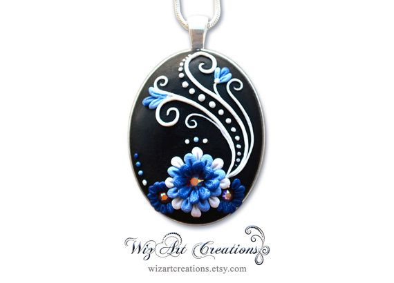 Blue, White and Black Handmade Polymer Clay Pendant with Swarovski Crystals, 30x40mm Cabochon, Applique Floral Jewelry, ART you can wear!