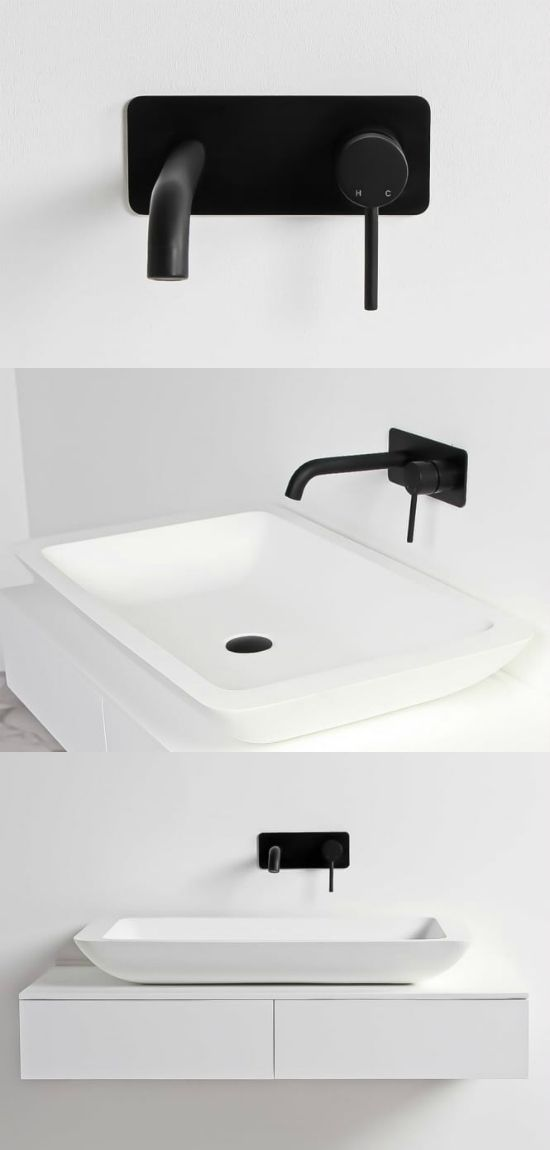 stone coloured bathroom accessories. Black and white bathroom ideas  Minimal wall mounted tap in matt black Stone basin 501 best images about Bathroom Design on Pinterest