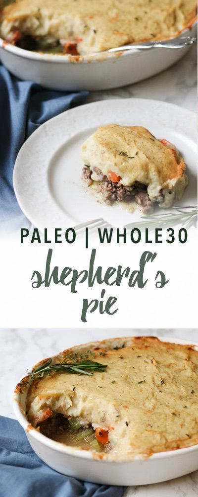 This comforting, veggie-packed Paleo Shepherd's Pie features a rich, silky topping of parsnips and cauliflower.