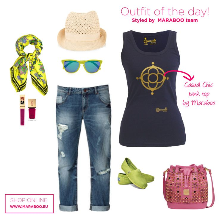 Ripped jeans,navy tank top $32.90€,lime scarf and straw hat