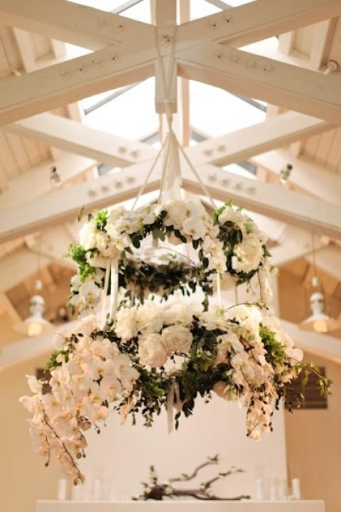 Flower Chandeliers / Wedding Style Inspiration / LANE