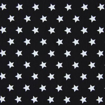 Cotton Stars medium 19 - musta - Musta ja valkoinen - Puuvillakangas tähdet - kankaita.com