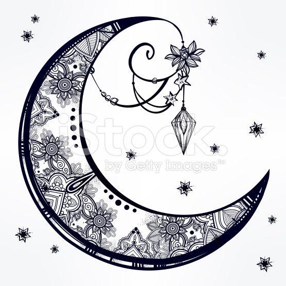 stock-illustration-77377793-ornate-crescent-moon-illustration-.jpg (556×556)