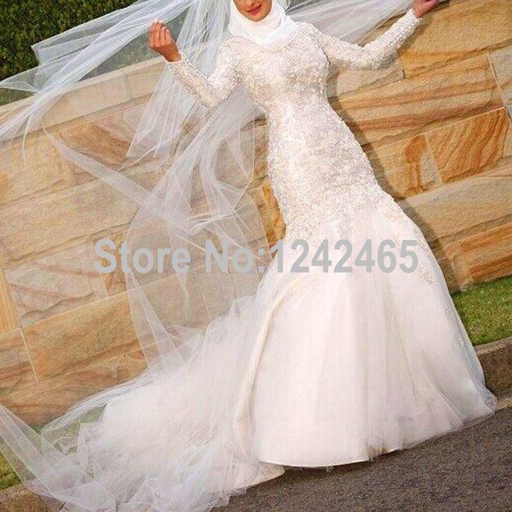 New Fashion Mermaid V Neck Muslim Arabic Long Sleeves Wedding Dress Hijab Vestido De Novia Dubai With Beadings EN429