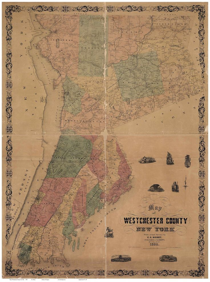 """Westchester County New York 1858 - Wall Map Reprint with Homeowner Names. This remarkable map of Westchester County New York was published in 1858. It shows all the roads in the county and identifies each house and business by the owner's name. Great for genealogists and history lovers. We offer this map in different sizes. Original size: 44"""" x 59"""" (Go to """"Select Options"""" to see sizes offered). ****Some text will be hard to read or illegible at the smaller sizes, but the map still makes…"""