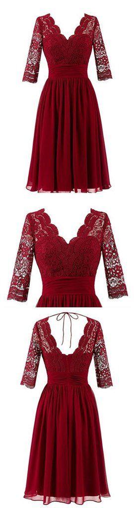 Dark Red Long Sleeve Lace Short Bridesmaid Dresses, Cheap Custom Short – SposaDesses