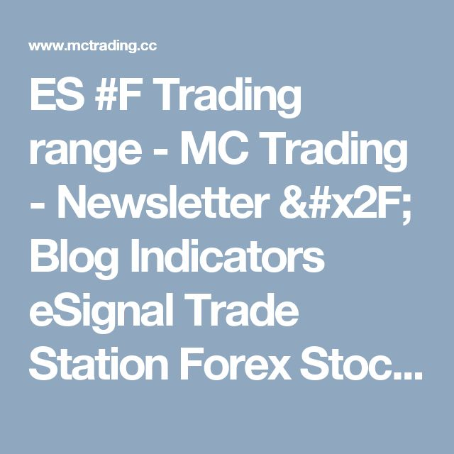 ES #F Trading range - MC Trading - Newsletter / Blog Indicators eSignal Trade Station Forex Stock Market Commodities Futures