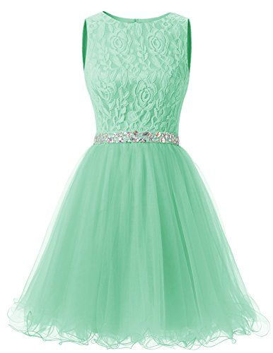 Dresstells® Short Tulle Open Back Prom Dress With Lac…