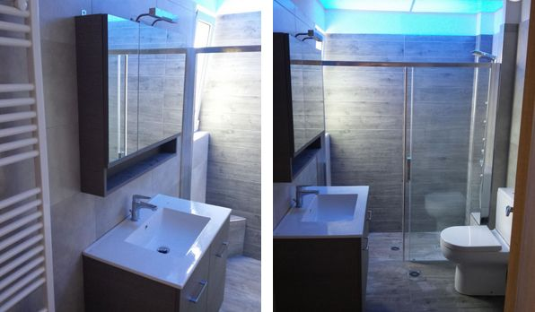 μπάνιο, καθρέφτης, νιπτήρας, ντους, γυάλινο διαχωριστικό