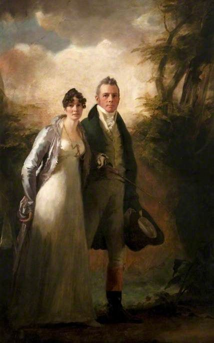 Mr & Mrs Robert N. Campbel of Kailzie, c.1805, by Sir Henry Raeburn (1756-1823). Smartly dressed for a stroll around the estate with his pretty wife.