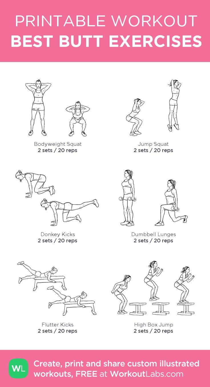 BEST BUTT EXERCISES:my custom printable workout by @WorkoutLabs #workoutlabs #customworkout
