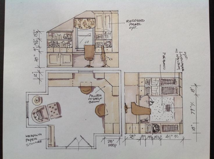 Office Floorplan And Elevations With Custom Cabinetry By Tracy Pearce Interior Design