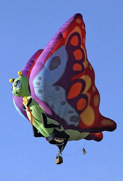 Butterfly balloon. Albuquerque, New Mexico. 40° Balloon Fiesta.  Added here because I have never seen a hot air balloon in this shape.