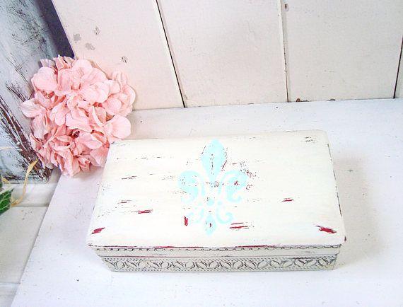 Rustic Jewelry Box Fleur de Lis Jewelry Holder Shabby Chic