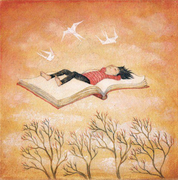 Los libros te elevan sobre el suelo, y hacen volar a tu espíritu (dibujo de Lucy Campbell)
