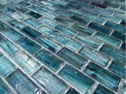 Mirabelle Glass Atlantic Blue 1x2 Polish Brick Glass Tile