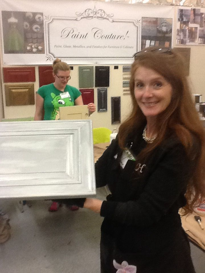 The Couture Collection!(TM) Advanced Cabinet Class.  Carrie Key showing her Farmhouse Silver cabinet door at Great Walls Supply #paintcouture #paintedcabinets