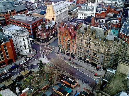 Albert Square from the top of the Town Hall tower in the daytime, Manchester.