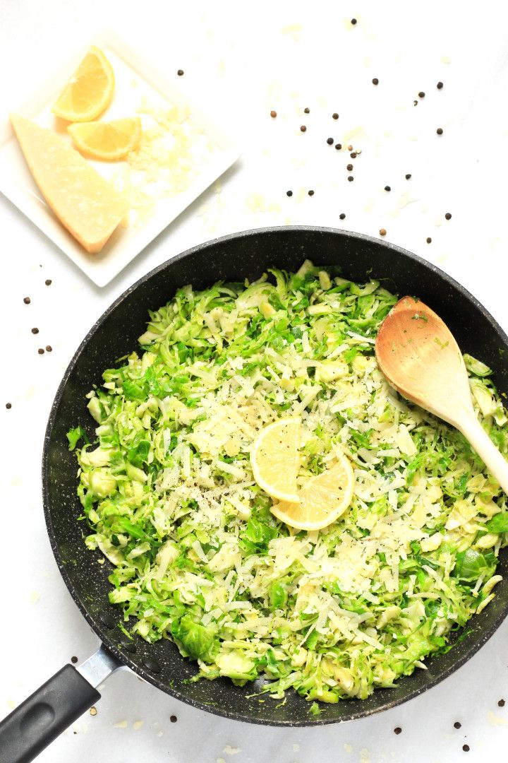 Shaved brussels sprouts sautéed in olive oil, lemon and grated parmesan, with just a little salt and pepper to enhance the ingredients' natural flavors.
