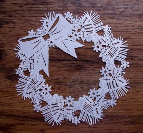 Template  for Christmas Wreath Paper Cut Personal by MadebyNicky, £9.00