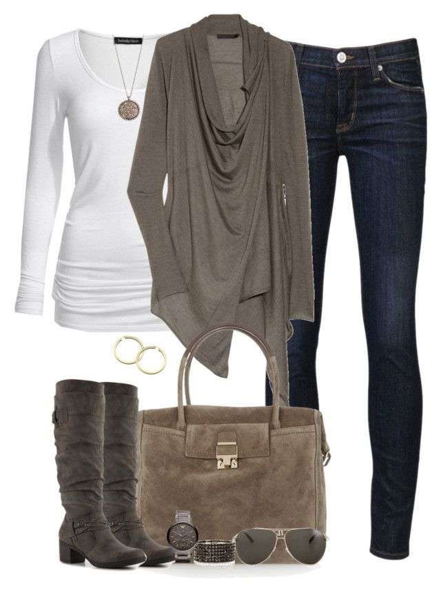 """Taupe"" by partywithgatsby ❤ liked on Polyvore featuring Isabella Oliver, Roberto Marroni, Hudson Jeans, Donna Karan, Lanvin, White Mountain, Marc Jacobs, Elie Tahari, Emporio Armani and top handle bags"