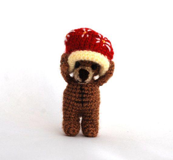 $23.64 #Teddy #bear, #tiny bear #having a #big #redhat, #bear #doll, #amigurumi #bear, #little #bear, #funny #gift, #artist #bear, #stuffed #toy, #amigurumi #doll