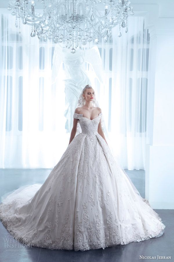 nicolas jebran spring 2015 couture wedding dress off shoulder sleeves ball gown silhouette