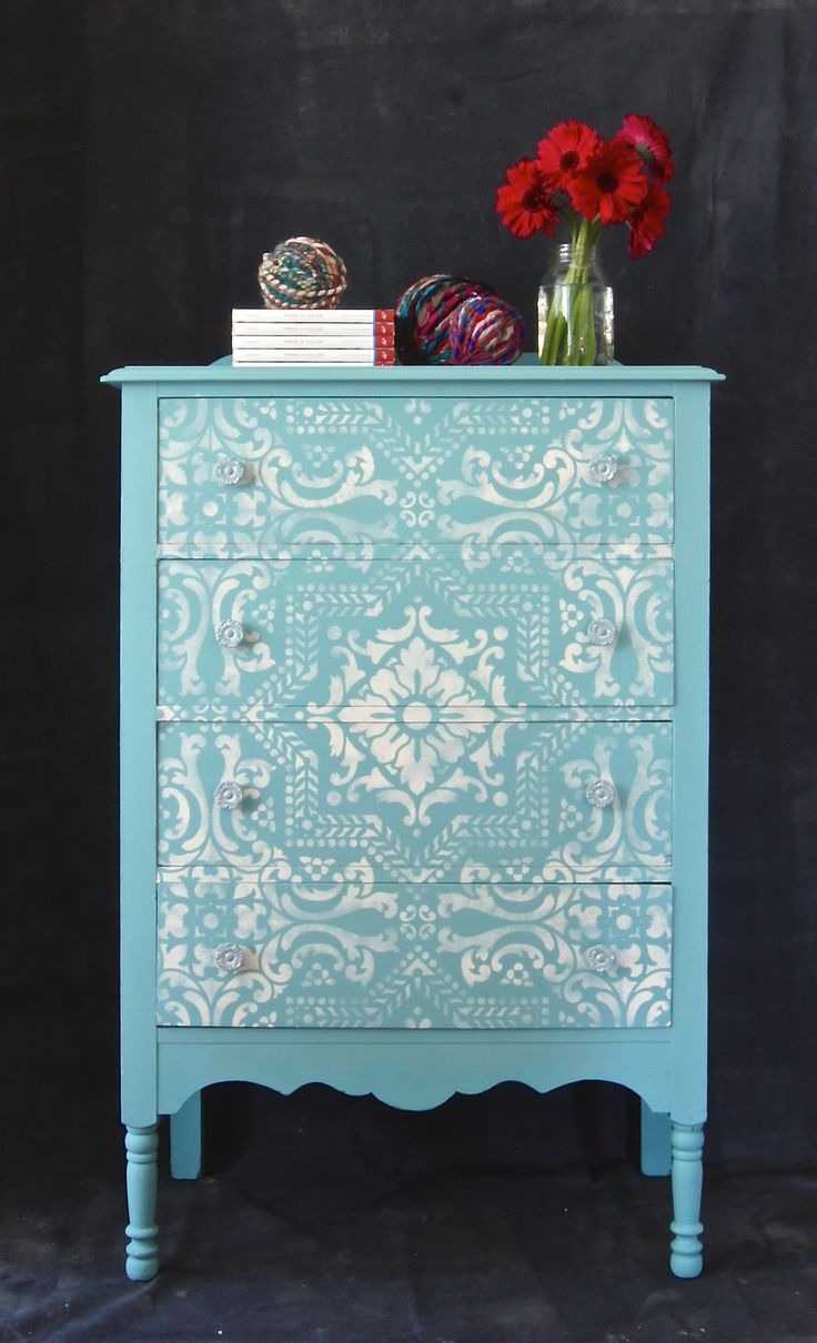 image stencils furniture painting. Tiffany Blue Mediterranean Painted And Stenciled Beauty! Provence \u0026 Old White Chalk Paint ® Image Stencils Furniture Painting R