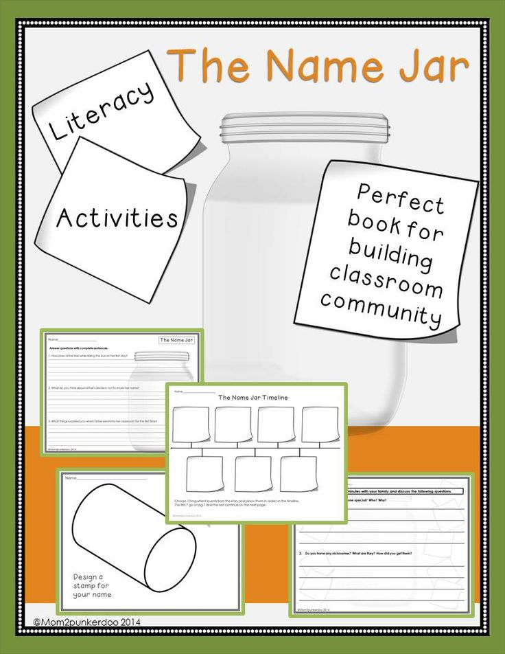"Use these activities to go with ""The Name Jar"" for Back to School classroom community building."