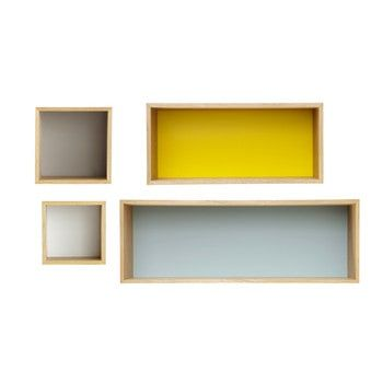 4 vintage multicoloured wooden wall shelves L 25 to 100 cm - Fjord