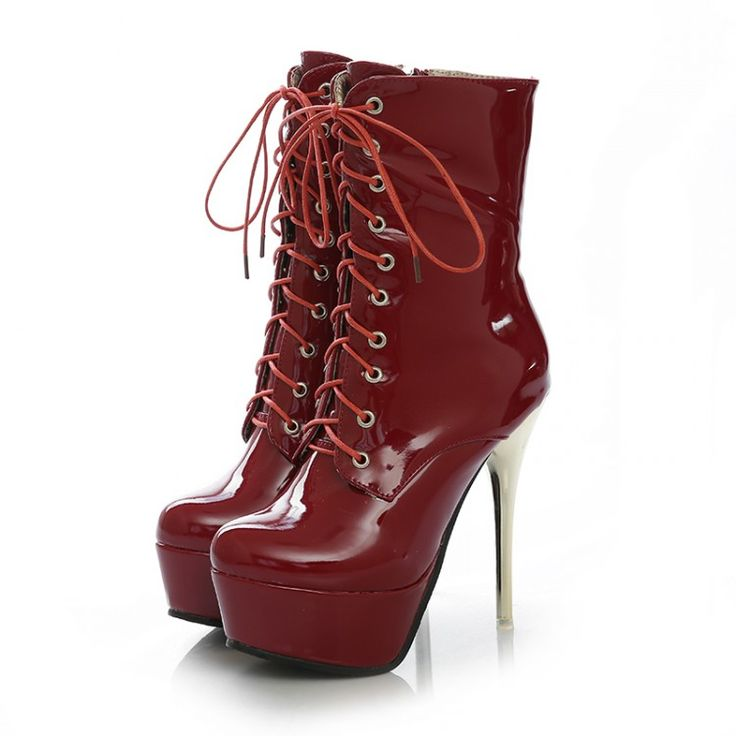 Sexy Red Lace Up High Heels Boots