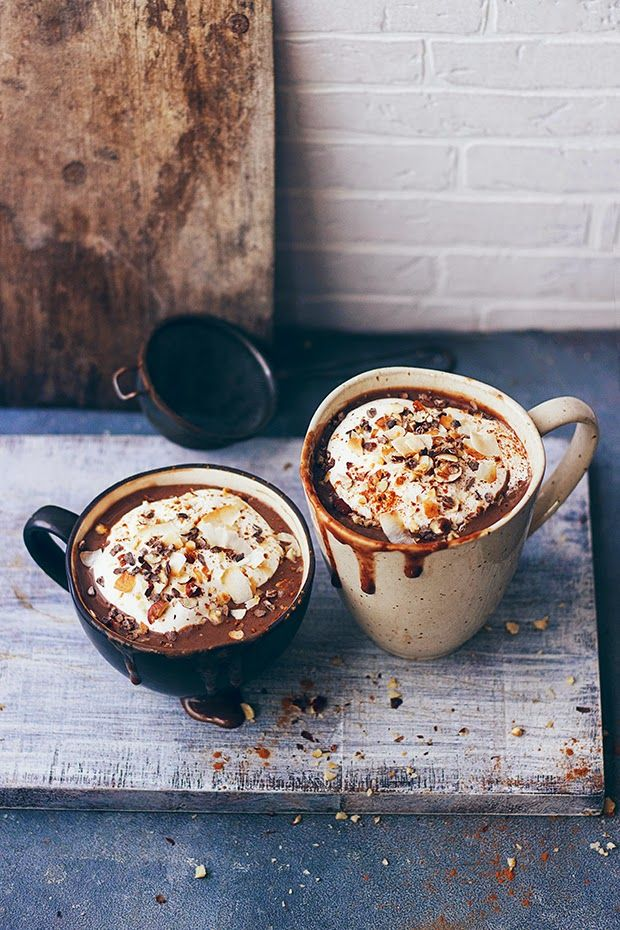 Hot chocolate with coconut whipped cream. #hotcocoa