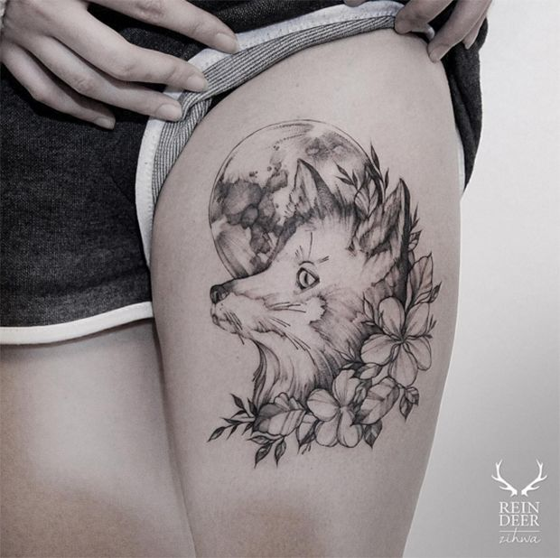 tatuagem botánica blackwork zihwa tattooer reindeer ink