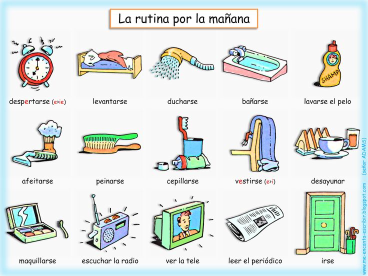 Ejercicios Para Aprender Espanol | Ahora, un pequeño ejercicio para aprender los verbos de la rutina y ...