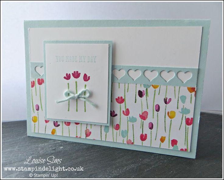 Stampin' Up! Painted Blooms - Gorgeous Designer Paper and matching stamp set make this lovely spring card. #stampinup #handmade #spring Order online at www.stampindelight.stampinup.net