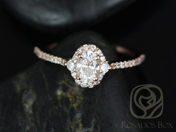 BRIDGETTE 6x4m m 14kt Rose Gold Oval FB Moissanite y por RosadosBox