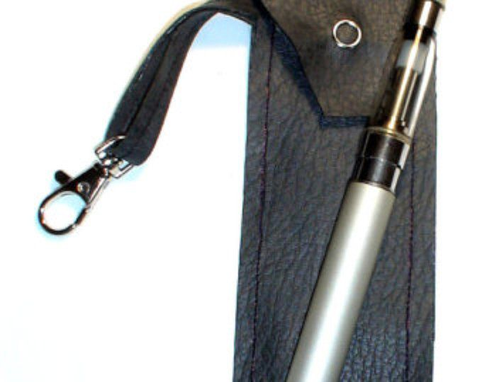 hand made black faux leather e-cig case, ego battery & tank e-cig with belt loop and lobster catch jeans or bag clip