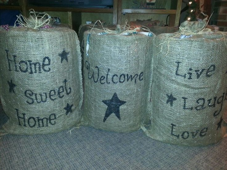 Lighted burlap bags my projects 2013 pinterest for Burlap bag craft ideas