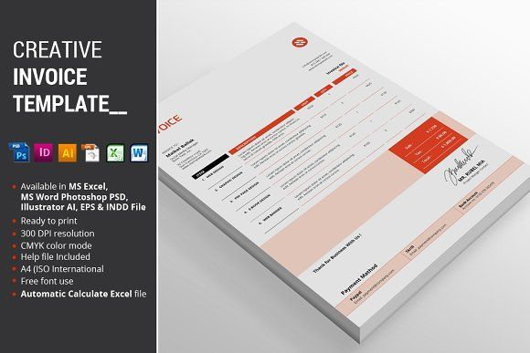 cool Creative Invoice Template  CreativeWork247 - Fonts, Graphics, Themes, ...