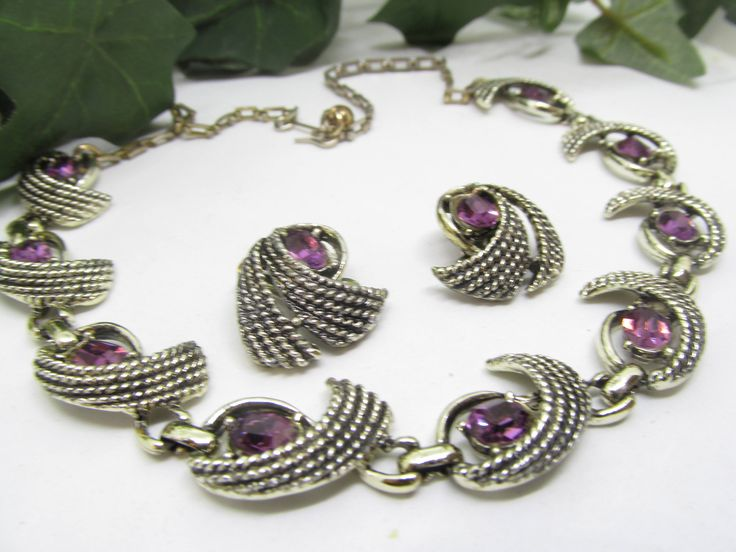 Vintage Demi Parure Featuring Foil Wrapped Amethyst Rhinestones In a Fancy Silver tone Setting Vintage Bib Necklace and Earrings