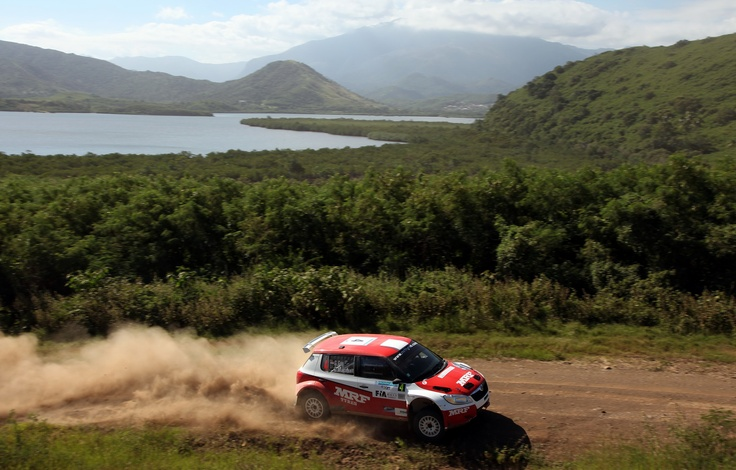Indian driver Gaurav Gill in action with scenic Rally New Caledonia