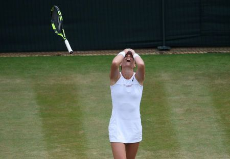 By Mitch Phillips  LONDON (Reuters) - Johanna Konta became the first British woman to reach the Wimbledon quarter-finals since Jo Durie in 1984 when she outlasted Caroline Garcia of France 7-6(3) 4-6 6-4 in an evenly-matched baseline battle on Monday.  Konta had previously won only one match in five